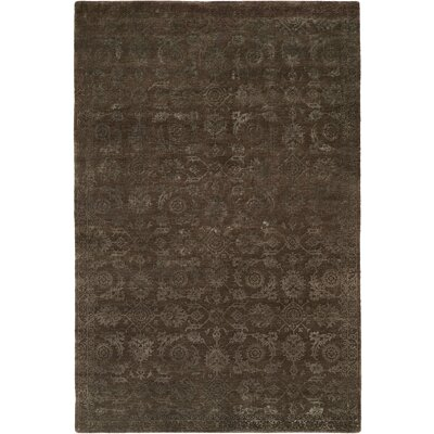 Faridkot Hand-Knotted Smokey Brown Area Rug Rug Size: 9 x 12
