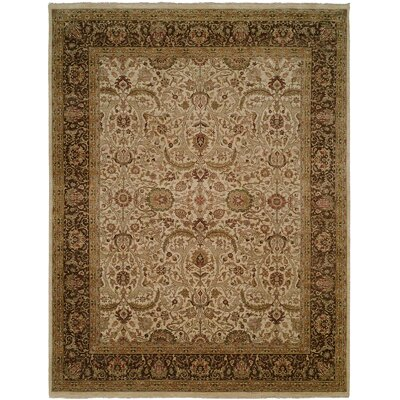 Diphu Hand-Knotted Ivory/Brown Area Rug Rug Size: 9 x 12