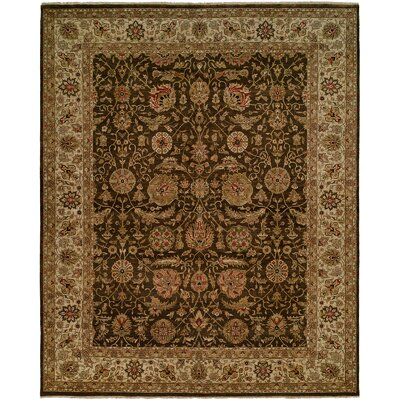 Diphu Hand-Knotted Brown/Ivory Area Rug Rug Size: 5 x 7