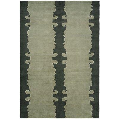 Farooqnagar Handmade Slate Green Area Rug Rug Size: 6 x 9