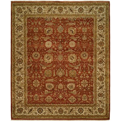 Diphu Hand-Knotted Rust/Ivory Area Rug Rug Size: Rectangle 9 x 12