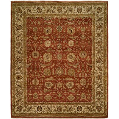 Diphu Hand-Knotted Rust/Ivory Area Rug Rug Size: 6 x 9
