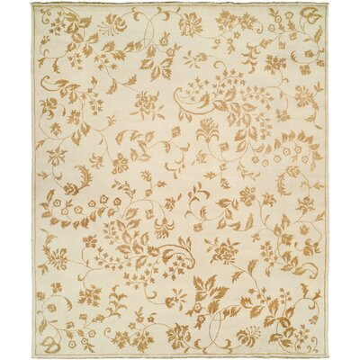 Dumka Hand-Knotted Gold Area Rug Rug Size: 6 x 9