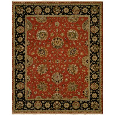 Forbesganj Hand-Knotted Rust/Black Area Rug Rug Size: 6 x 9