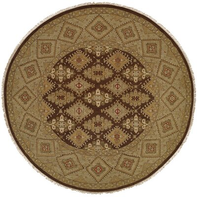 Forbesganj Hand-Knotted Brown/Green Area Rug Rug Size: Round 6