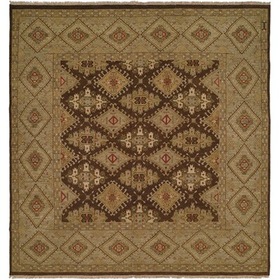 Forbesganj Hand-Knotted Brown/Green Area Rug Rug Size: Square 6