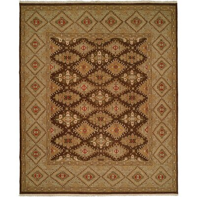 Forbesganj Hand-Knotted Brown/Green Area Rug Rug Size: 6 x 9
