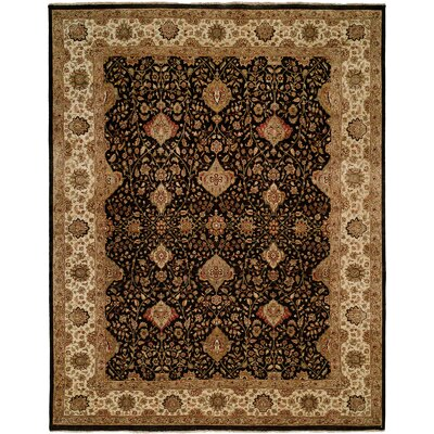 Diphu Hand-Knotted Black/Ivory Area Rug Rug Size: 3 x 5
