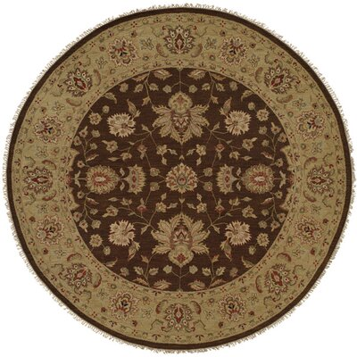 Dhenkanal Hand-Knotted Brown / Gold Area Rug Rug Size: Round 10