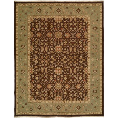 Dhenkanal Hand-Knotted Brown / Aqua Area Rug Rug Size: Rectangle 10 x 14
