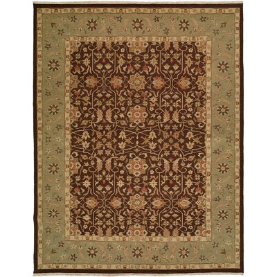 Dhenkanal Hand-Knotted Brown / Aqua Area Rug Rug Size: 10 x 14