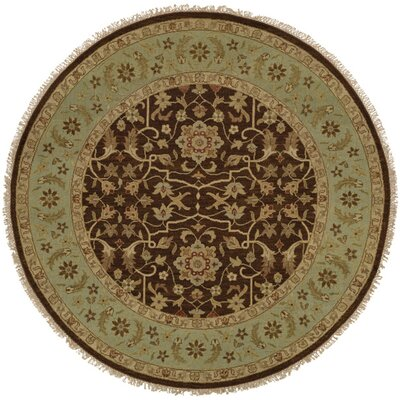 Dhenkanal Hand-Knotted Brown / Aqua Area Rug Rug Size: Round 6