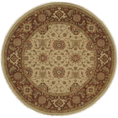 Forbesganj Hand-Knotted Ivory / Brown Area Rug Rug Size: Round 6