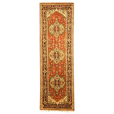 Hand-Knotted Red Area Rug Rug Size: Runner 26 x 8