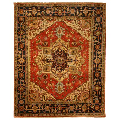 Hand-Knotted Red Area Rug Rug Size: Rectangle 4 x 6