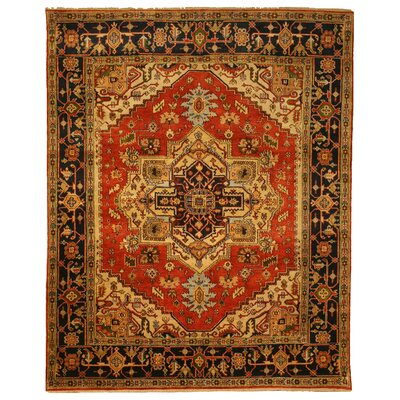 Hand-Knotted Red Area Rug Rug Size: Rectangle 89 x 119