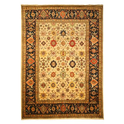 Ladnu Hand-Knotted Ivory Area Rug Rug Size: Rectangle 4' x 6'