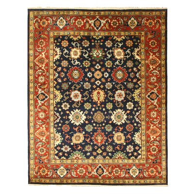 Maddur Hand-Knotted Red/ Blue Area Rug Rug Size: 6 x 9