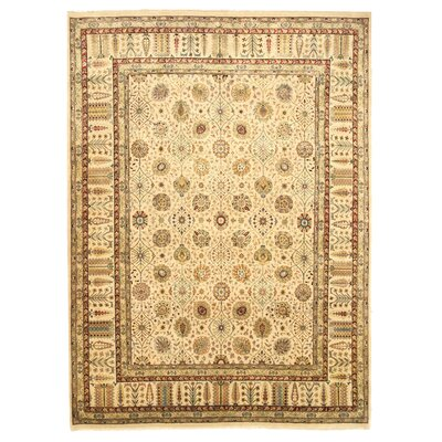 Makhdumpur Hand-Knotted Beige Area Rug