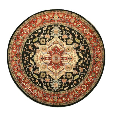 Hand-Knotted Brown/Black Area Rug Rug Size: Round 8