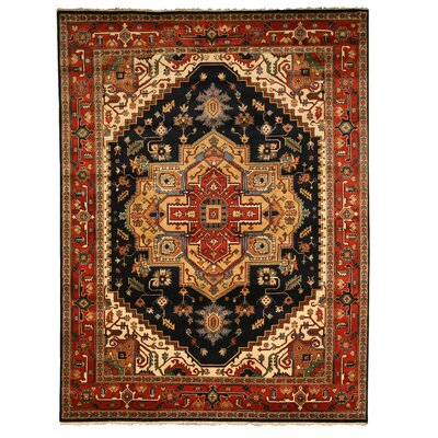 Hand-Knotted Brown/Black Area Rug Rug Size: Rectangle 10 x 14