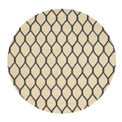Hand-Tufted Beige Area Rug Rug Size: Round 6