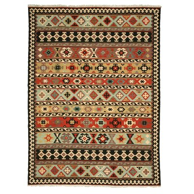 Hand-Knotted Brown Area Rug Rug Size: 96 x 136