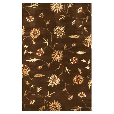 Hand-Tufted Brown Area Rug Rug Size: 89 x 119