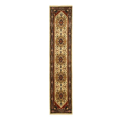 Hand-Knotted Brown/Beige Area Rug Rug Size: Runner 26 x 8