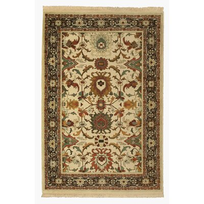 Hand-Knotted Beige/Black Area Rug