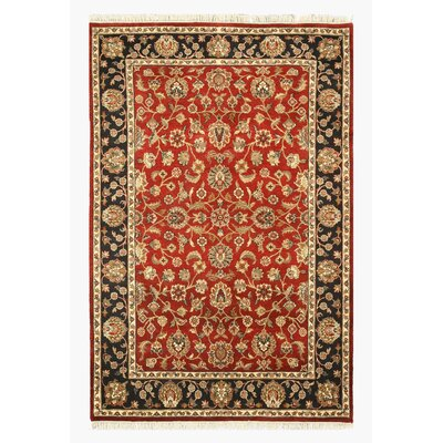 Hand-Knotted Red/Black Area Rug