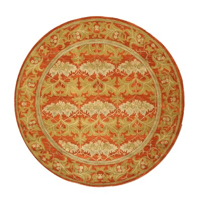 Hand-Tufted Red/Beige Area Rug Rug Size: Round 4