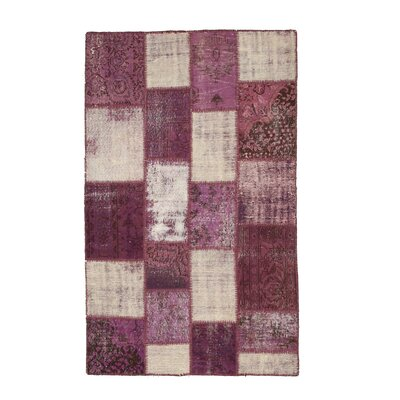 Navalgund Hand-Knotted Purple Area Rug