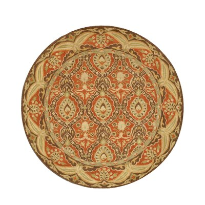Nedumangad Hand-Tufted Red/Beige Area Rug Rug Size: Round 6