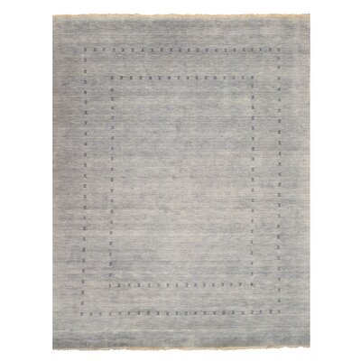 Drennon Hand-Knotted Gray Area Rug Rug Size: 5 x 8