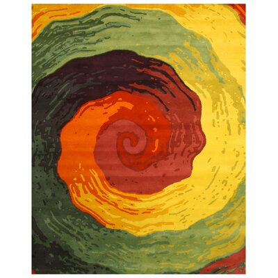 Nepanagar Hand-Tufted Green/Red Area Rug Rug Size: Rectangle 89 x 119