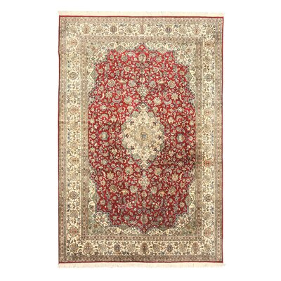 Nohar Hand-Knotted Beige/Red Area Rug