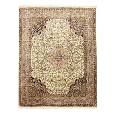 Lakhimpur Hand-Knotted Beige Area Rug