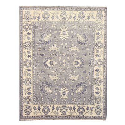 Palacole Hand-Knotted Gray Area Rug Rug Size: Rectangle 10 x 14