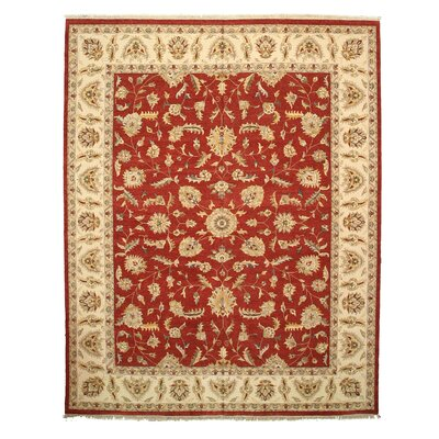 Palia Hand-Knotted Red/Beige Area Rug