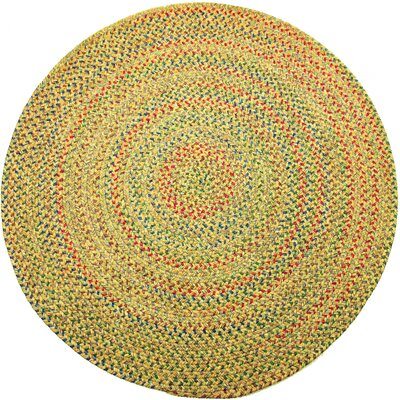 Rupnagar Green/Yellow Indoor/Outdoor Area Rug Rug Size: Round 4