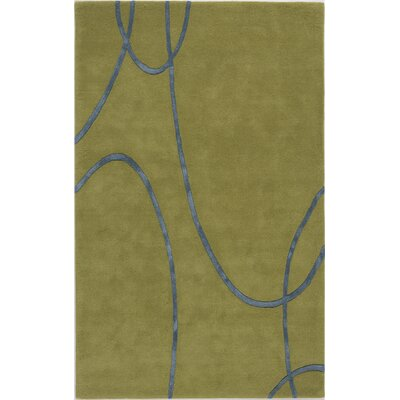 Suratgarh Hand-Tufted Green Area Rug Rug Size: 7 x 9
