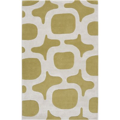 Tarakeswar Hand-Tufted Green/White Area Rug Rug Size: 7 x 9