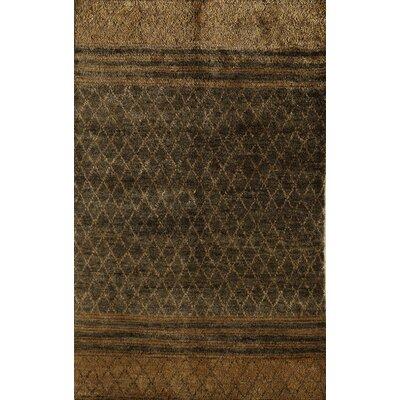 Tinsukia Hand-Woven Brown Area Rug Rug Size: 7 x 9