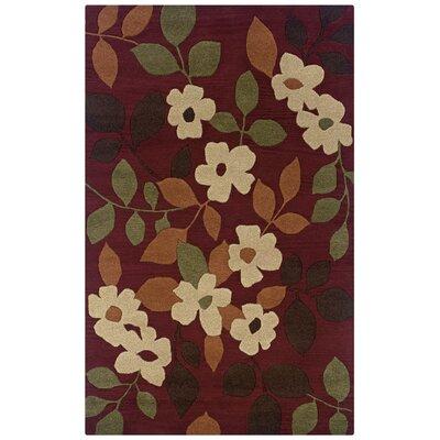 Tulsipur Hand-Tufted Burgundy Area Rug Rug Size: 5 x 8