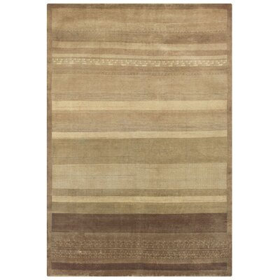 Ujhani Hand-Knotted Beige Area Rug Rug Size: Rectangle 4 x 6