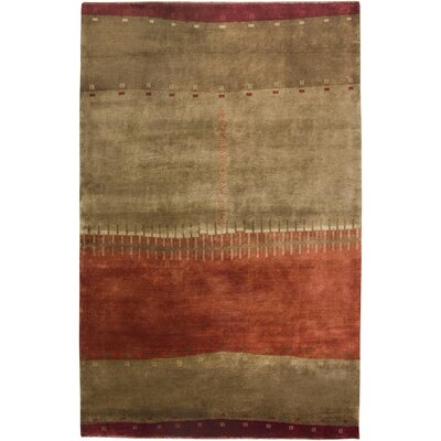 Upleta Hand-Knotted Brown Area Rug Rug Size: 56 x 86