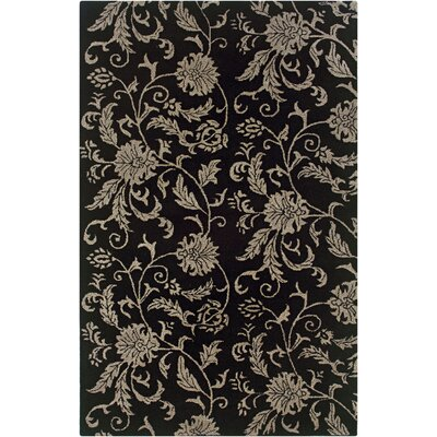 Uthiramerur Hand-Tufted Black Area Rug Rug Size: 3 x 5