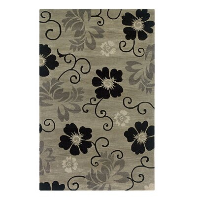 Vaikom Hand-Tufted Pewter Area Rug Rug Size: 5 x 8
