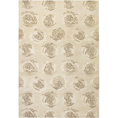 Vinukonda Hand-Knotted Light Gold Area Rug Rug Size: 36 x 56